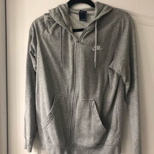 Gray NIKE Zip-Up With Hood